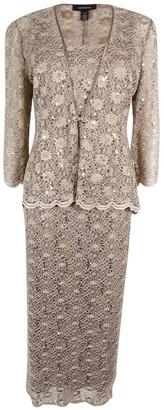 R & M Richards R&M Richards Women's Plus Size 2 PCE Lace Swing Jacket Dress Knit