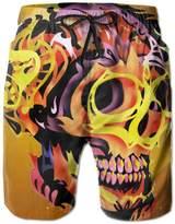 Bmen Skull Fire Men Quick Dry Board Shorts L