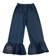 Princess Linens Denim Monogram Ruffle Pants - Infant, Toddler & Girls