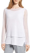 Eileen Fisher Petite Women's Linen Open Knit Ballet Neck Top