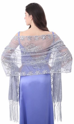 Miss Shorthair MissShorthair Women's 1920s Scarf Mesh Sequin Wedding Cape Evening Shawl Wrap - silver - XL