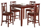 ACME Furniture 5 Piece Sonata Counter Height Dining Set Wood/Cherry/Chocolate Microfiber - Acme