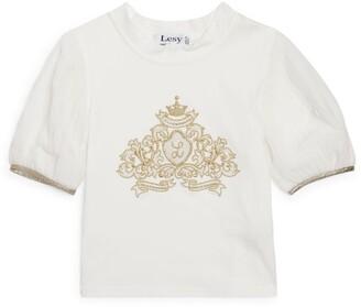 Lesy Royal Motif Puff-Sleeved Top (3-14 Years)