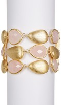 Rivka Friedman 3 Row Rose Quartz & Rock Crystal Station Bracelet