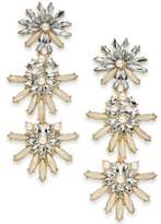 INC International Concepts Gold-Tone Stone & Crystal Flower Triple Drop Earrings, Created for Macy's