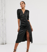 Outrageous Fortune Tall ruched midi dress in tonal black leopard print