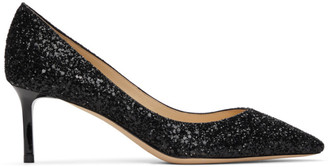 Jimmy Choo Black Glitter Romy Heels