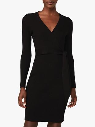 Phase Eight Oliv Ribbed Wrap Dress, Black