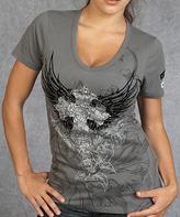 Rebel Spirit Gray Cross & Wings V-Neck Tee - Women