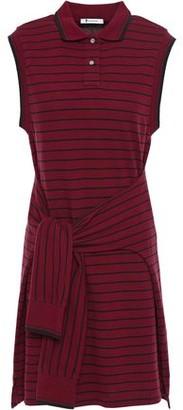 Alexander Wang Tie-front Striped Cotton-pique Mini Dress