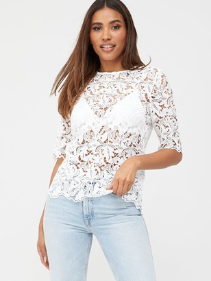 Very Lace Short Sleeve Shell Top - Ivory