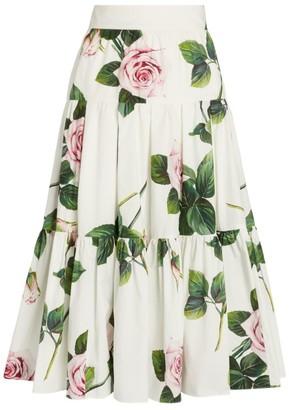 Dolce & Gabbana Tropical Rose Print Skirt