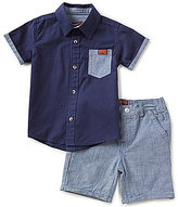 7 For All Mankind Baby Boys 12-24 Months Short-Sleeve Poplin Shirt & Chambray Shorts Set
