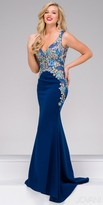 Jovani Beaded Floral Applique Jersey Evening Dress