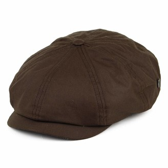Jaxon & James British Millerain Waxed Cotton Newsboy Cap - Brown Small