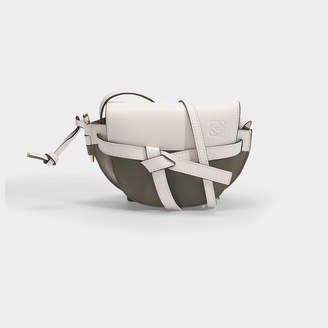 Loewe Gate Mini Bag In Soft White And Kaki Green Calfskin