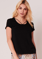 Missy Empire Lilly Black Short Sleeved Caged Detail Tee