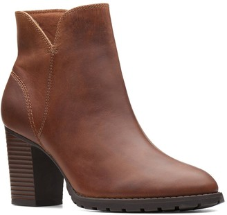 Clarks Verona Trish Heeled Leather Ankle Boot - Dark Tan