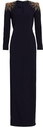Jenny Packham Gene Stretch Crepe Beaded Gown