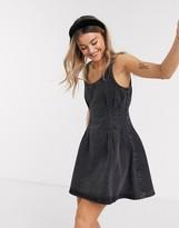 Asos Design DESIGN denim pintuck waist mini dress in black