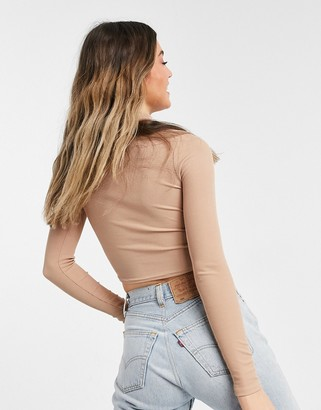 New Look pointed hem corset seam high neck top in camel