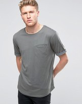 Ringspun Pocket T-shirt With Rolled Up Cuffs And Curved Hem