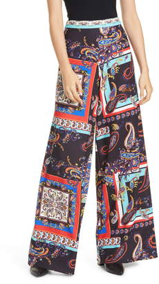 Alice + Olivia Athena Print Super Flared Wide Leg Pants