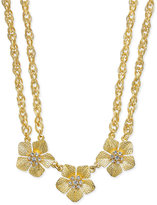 Charter Club Gold-Tone Triple Flower Crystal Double Chain Statement Necklace, Only at Macy's