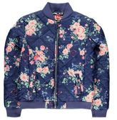 Lee Cooper Kids AOP Bomber Jacket Junior Girls Flower Padded Ribbed Full Zip Top