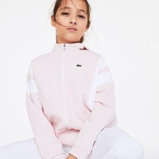 Lacoste Girls Vintage Style Hooded Fleece Zip Sweatshirt