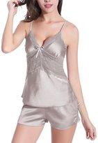 Burvogue Women's Lace Lingerie Two-piece Pajama Set with Cami and Short