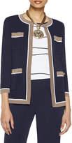Misook Plus Size Contrast Trim Knit Jacket