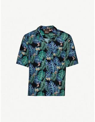 Oscar Jacobson Hilmer floral-print regular-fit woven shirt