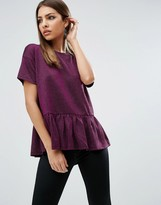 Asos T-Shirt In Sparkle Fabric With Ruffle Hem