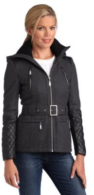 BCBGMAXAZRIA Hooded Jacket With Faux-Leather Trim