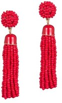 Gottex Plated Tassel Beaded Red Drop Earrings.