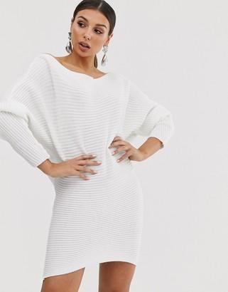 Asos DESIGN ripple off shoulder sweater dress