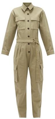 Frame Safari Belted Cotton-blend Twill Cargo Jumpsuit - Womens - Khaki