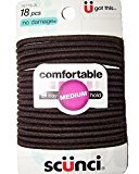 Scunci Comfortable All Day Medium Hold, Black 18 ea (Pack of 9)