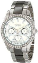 XOXO Women's XO5449 Silver and Gunmetal Clear Rhinestones Bezel Bracelet Watch