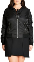 City Chic Plus Size Women's Zip Front Bomber Jacket