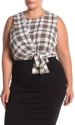 Vince Camuto Plaid Sleeveless Asymmetrical Tie Front Top (Plus Size)