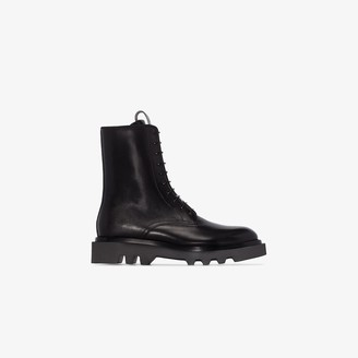 Givenchy black Combat lace-up leather ankle boots