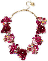 Betsey Johnson Gold-Tone Multi-Stone Pink Flower Statement Necklace