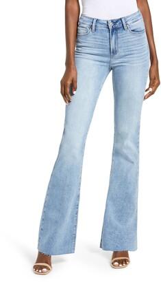 Paige Transcend Laurel Canyon High Waist Raw Hem Flare Jeans