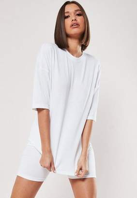 Missguided White Oversized T Shirt Cycling Short Co Ord Set