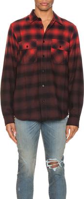 Amiri Dip Dye Flannel Shirt in Red & Black | FWRD