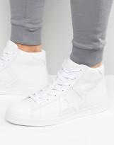 Armani Jeans Hi Top Logo Sneakers In White