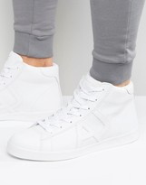Armani Jeans Hi Top Logo Trainers In White