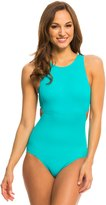 DKNY StreetCast High Neck Cut Out One Piece Swimsuit - 8131677
